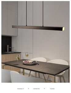 "Modern Wood 31 1/2"" to 59"" Aluminum Polished Pendant Chandelier"
