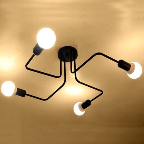 "Image of Retro 23 1/2"" to 47 1/4"" Wide Metal Wire Branching Pendant Ceiling Lights"