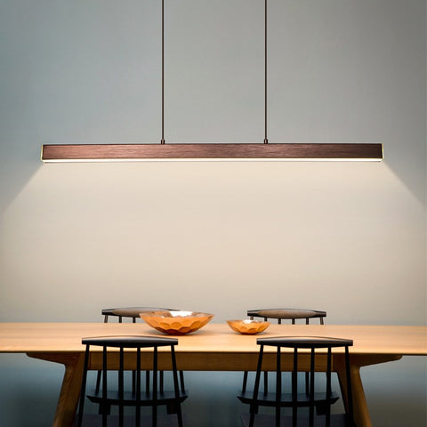 "Image of Modern Wood 31 1/2"" to 59"" Aluminum Polished Pendant Chandelier"