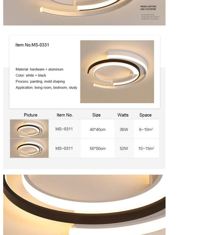 Image of Circular Modern LED Ceiling Pendant Lights White Black