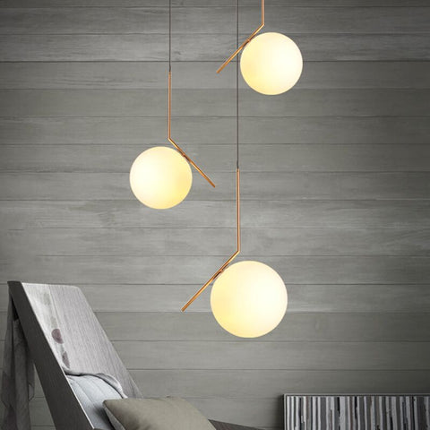 Image of Milky White Glass Globe Minimalist Pendant Lights