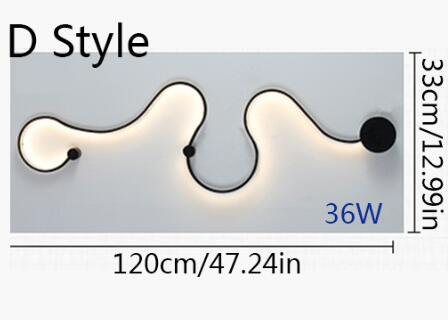 Image of Twisted LED Lighting Fixture - Curved Wall Light