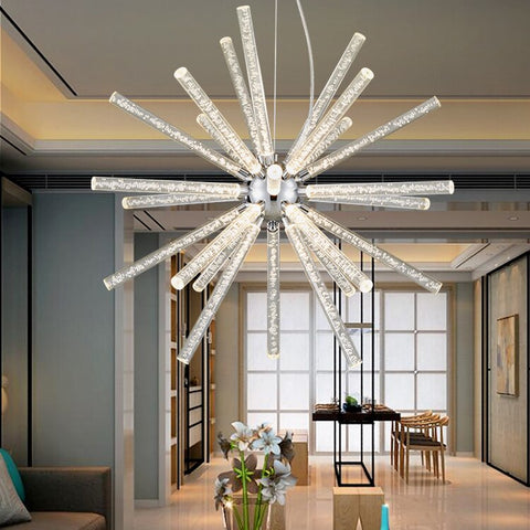 Image of Novel Creative Design Iron Chandelier - Glowing Snowflake Droplight - Large