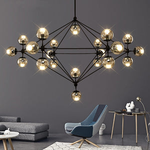 Industrial Vintage Glass Bubble Chandelier
