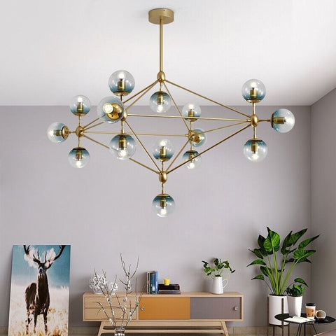 Image of Industrial Vintage Glass Bubble Chandelier