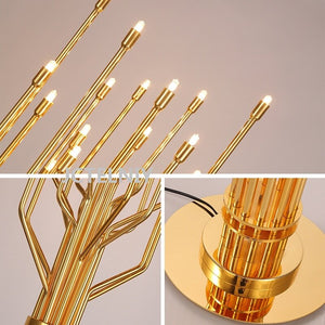 Gold-Colored Modern Tree Lamp - Decorative Floor Lamp, Stainless Steel