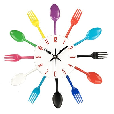 Cutlery Metal Kitchen Wall Clock Spoon Fork