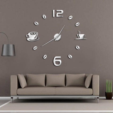 Image of Cafe DIY Large Wall Clock Frameless Coffee Mug Coffee Bean