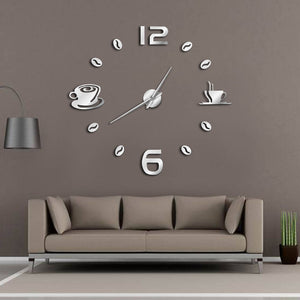 Cafe DIY Large Wall Clock Frameless Coffee Mug Coffee Bean