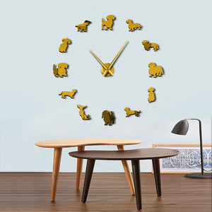 DIY Wall Art Wiener-Dog Puppy Dog Giant Wall Clock With Mirror Effect