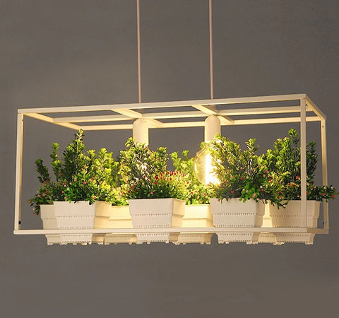 Image of Metta - Wrought Iron Suspended Planter Lamp