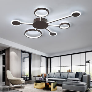 "Euro Circular 19 1/2"" to 32 1/2"" Wide Ceiling LED Light with 4-7 Arms"