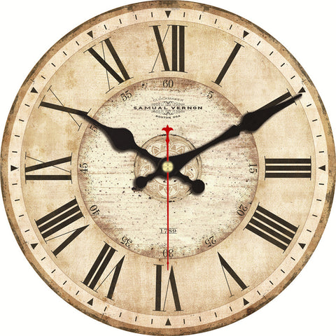 Image of Vintage Wall Clock Roman Number Design Silent No Ticking Sound