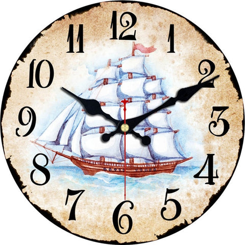Antique Clocks Silent World Map Sailboat Design Clock