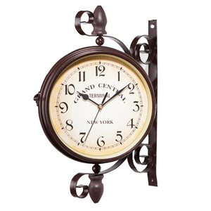 New European Style Vintage Clock Innovative Fashionable Double Sided Wall Clock