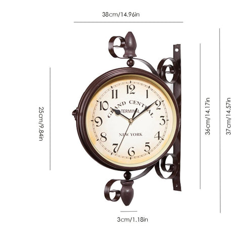 Image of New European Style Vintage Clock Innovative Fashionable Double Sided Wall Clock