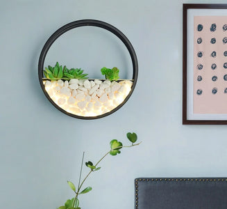 Maximus - Round Metal Wall Mounted Planter Lamp