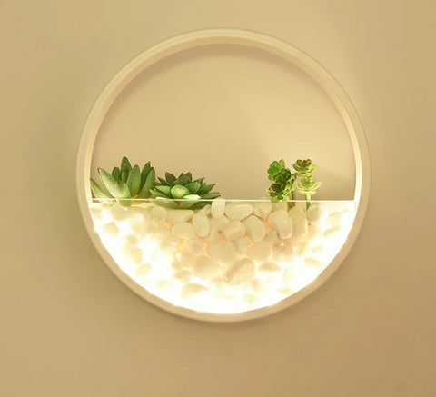 Image of Maximus - Round Metal Wall Mounted Planter Lamp