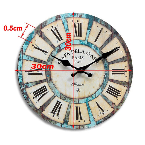 Image of Vintage Round Wall Clock Retro Home Decoration