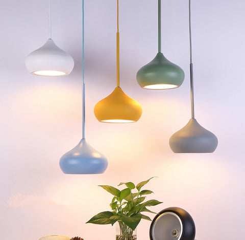 Image of Colorful Dome Shaped Lampshade LED Pendant Lights