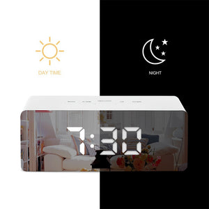 LED Mirror Alarm Clock Digital Temperature Display