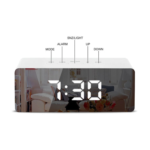 Image of LED Mirror Alarm Clock Digital Temperature Display