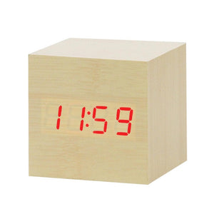 LED Wooden Table Alarm Clock With Voice Control
