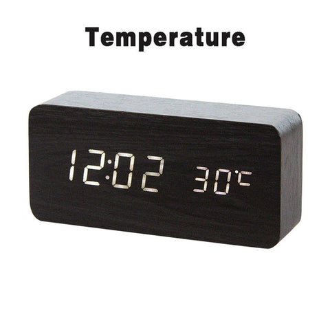 Image of LED Wooden Table Alarm Clock With Voice Control