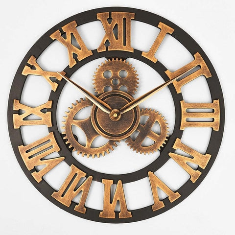 Image of Wooden Vintage Wall clock with Retro Gear Handmade Retro Rustic Antique