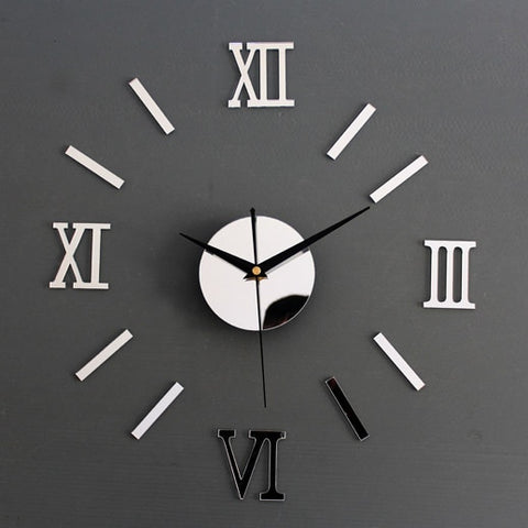 Image of Rome Digital Number Wall Clock DIY 3d Mirror