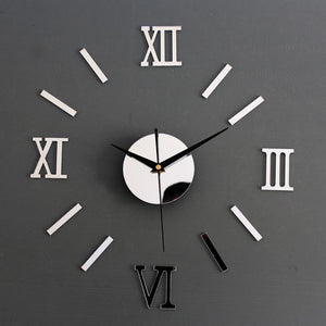 Rome Digital Number Wall Clock DIY 3d Mirror