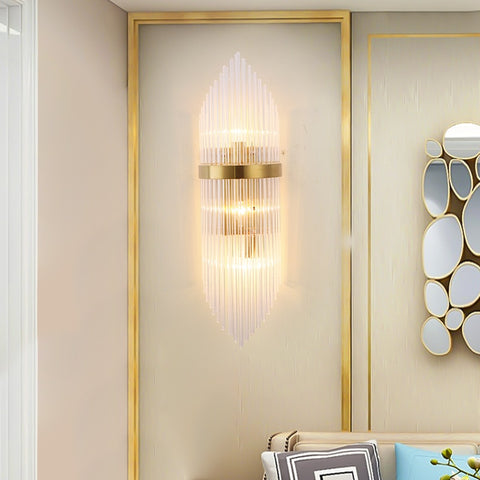 Image of Gold Indoor Living Room Crystal Wall Lamp