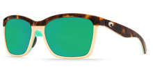 Load image into Gallery viewer, Anaa Sunglasses | Shiny Retro Tort Creamy Mint - Green Mirror 580P Lens