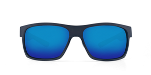 Half Moon Sunglasses | Shiny Black Matte Black - Blue Mirror 580G Lens