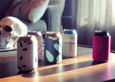 still life with can holders and skull