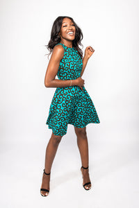 NIO STYLES │ Round neck flared turquoise print dress in sleeveless design with side pocket... Knee-length, Regular fit. Wear to any occasion, party or work to get that striking look! Graciously styled, uniquely you