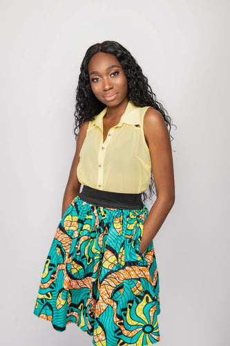 NIO STYLES │ Beautiful Print Design skirt with Elasticated waist band and Side pockets. Suitable for an office and also casual yet stylish look.