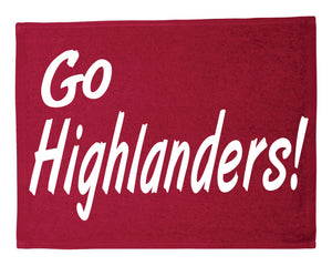 "The Woodlands High School ""Go Highlanders"" Rally Towel Red"