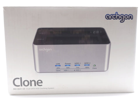 Archgon Clone MH-3621-U3 USB 3.0 Dual SATA HDD Plug and Play Docking System - DSI Depot