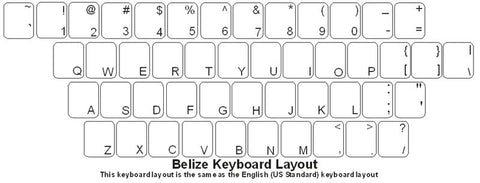 Belieze (English) Keyboard Labels - DSI Depot