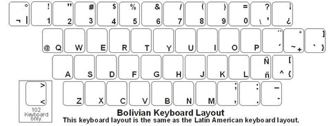 Bolivia (Spanish) Keyboard Labels - DSI Depot