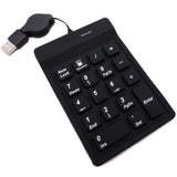 Silicone USB 18 Keys Numeric Keypad with Retractable Wired Cable - DSI Depot