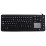 Waterproof IP68 Silicone Full Size LED Backlit Keyboard with Touchpad JH-IKB98BL - DSI Depot
