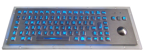 Industrial Metal Kiosk Compact Trackball Keyboard with LED Backlight DKM-CT-1002-LED - DSI Depot