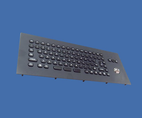 Industrial Metal Kiosk Desktop Compact Trackball Keyboard with FN Key DKM-CT-2001-FRONT-BK - DSI Depot