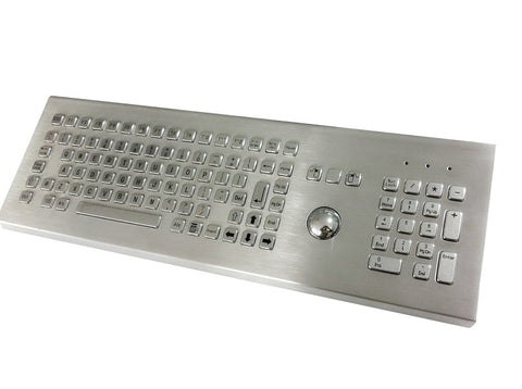 Industrial Metal Kiosk Desktop Full Size Trackball Keyboard with Numeric Keypad DKM-FT-1002-DESK - DSI Depot