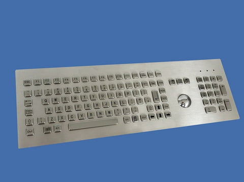 Industrial Metal Kiosk Full Size Trackball Keyboard with Backside Mounting DKM-FT-1002-FRONT - DSI Depot