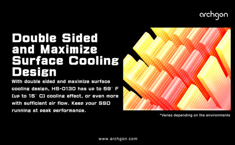 Archgon M.2 NVMe SSD Heatsink with Thermal Pads - Anodized Aluminium HS-0130 - DSI Depot