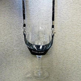 Black Hands Free Wine Glass Holder with Black Bling Lanyard - DSI Depot