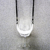 White Hands Free Wine Glass Holder with Black Bling Lanyard - DSI Depot